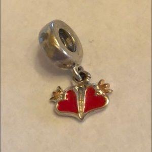 Pandora Double Heart red enamel charm